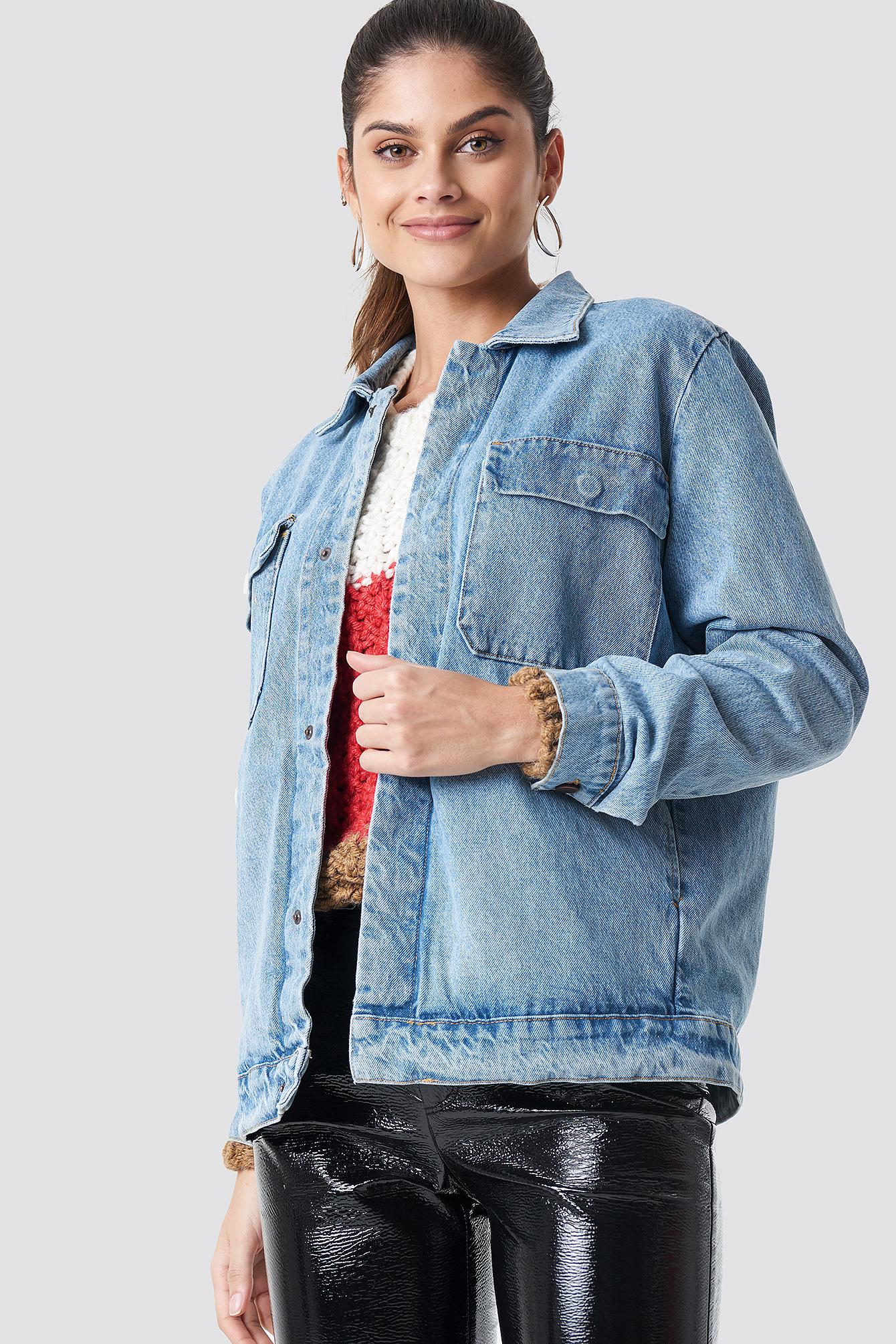 na-kd -  Big Pocket Denim Jacket - Blue