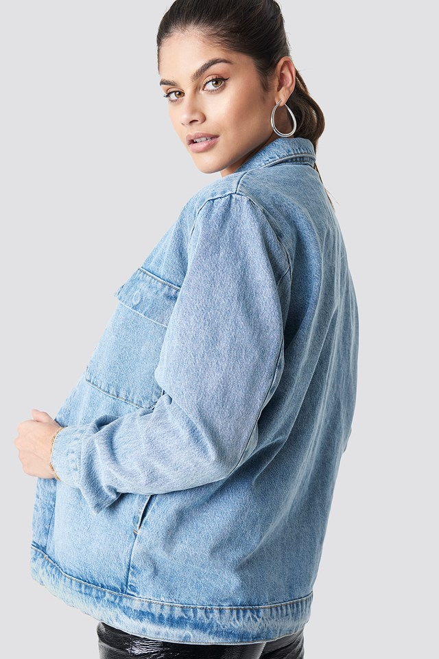 Big Pocket Denim Jacket Light Blue