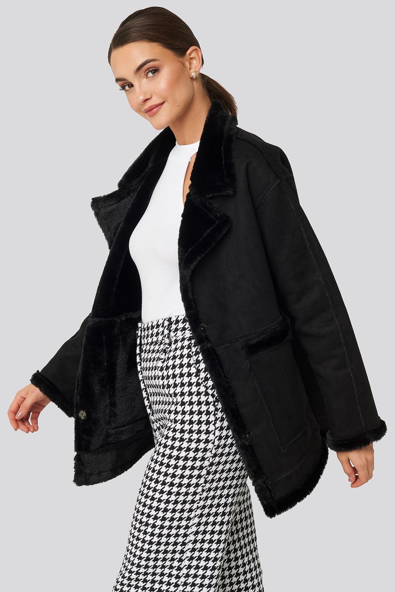 na-kd -  Big Pocket Faux Suede Jacket - Black