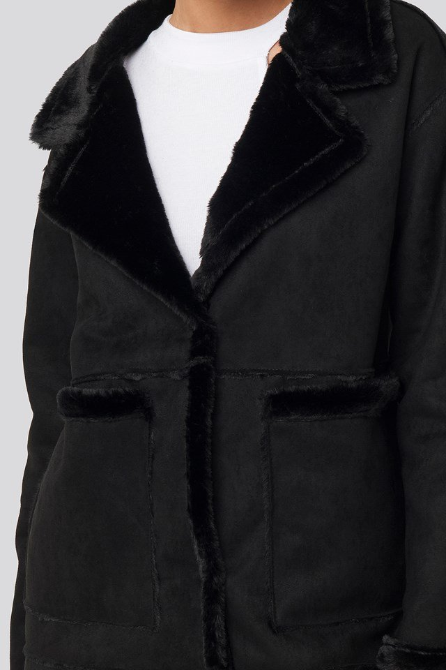 Big Pocket Faux Suede Jacket Black