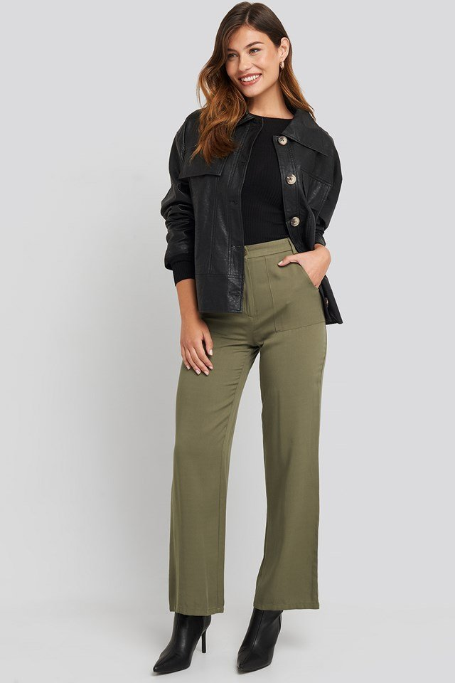 Big Pocket Flowy Pants Green