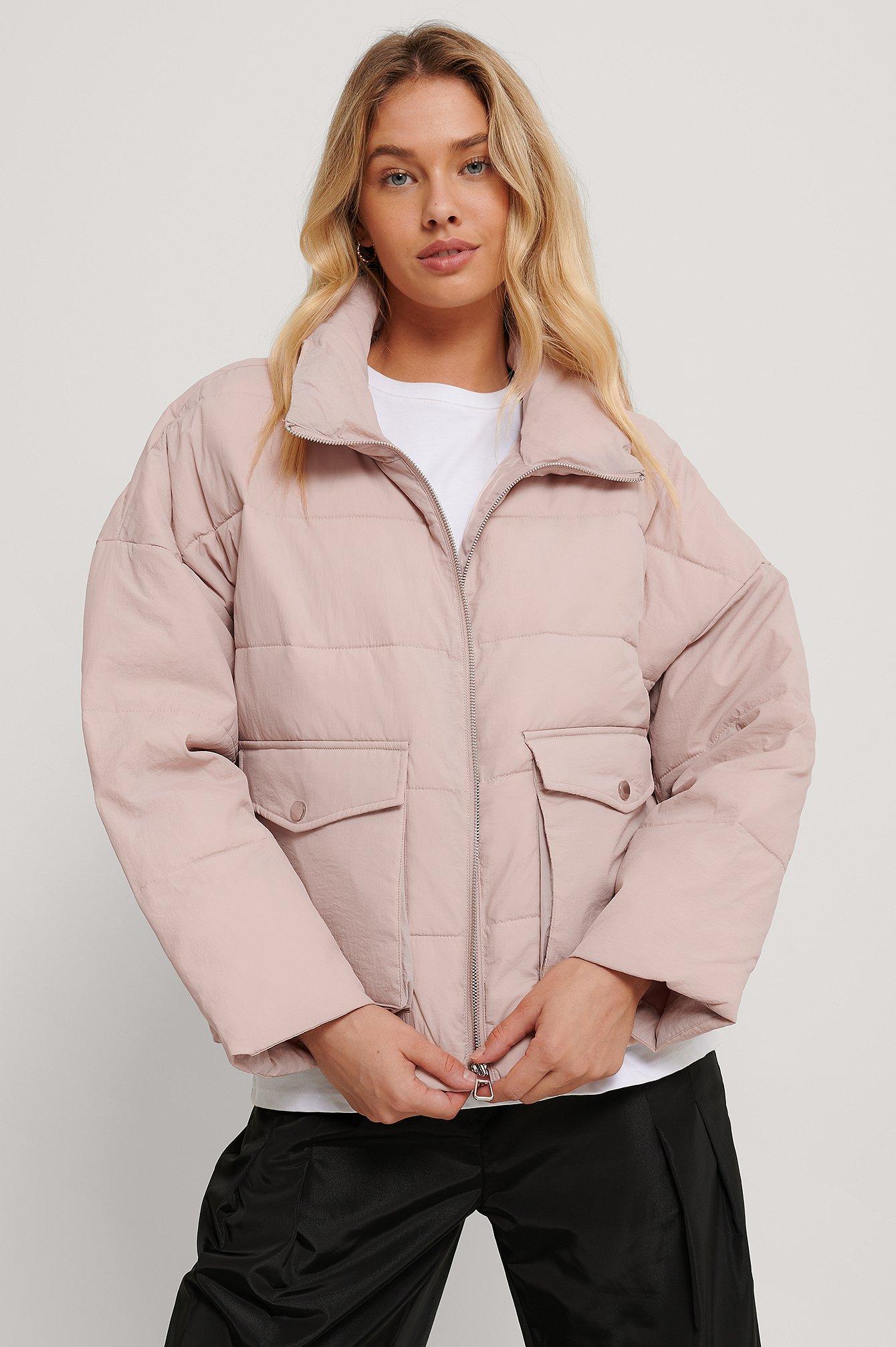 na-kd -  Gepolsterte Jacke Mit Großer Tasche - Pink