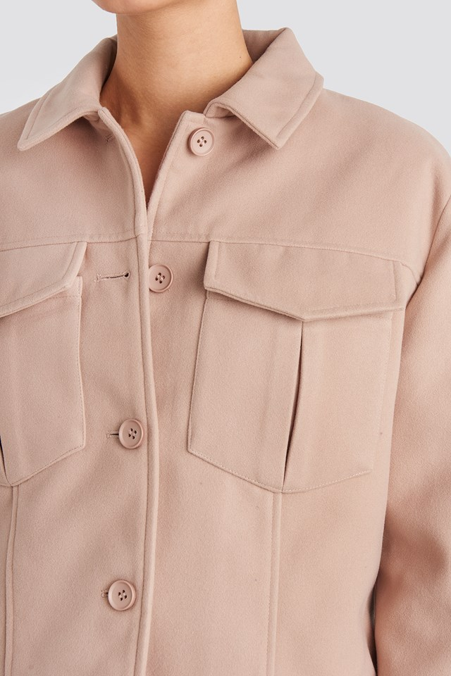 Big Pocket Short Jacket Dusty Pink