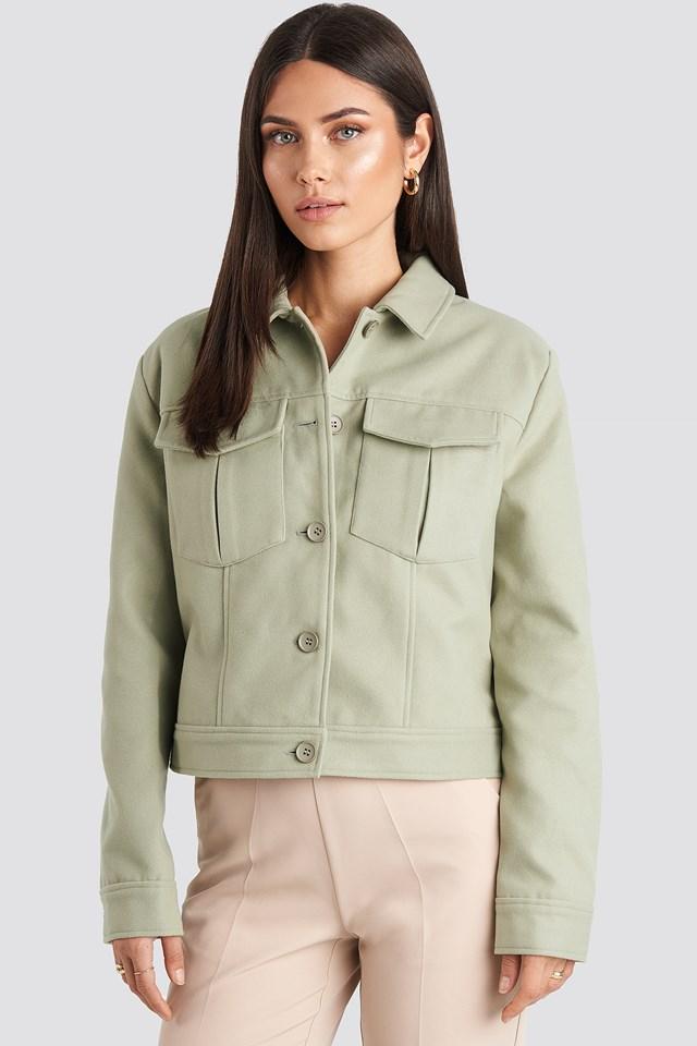 Big Pocket Short Jacket Dusty Green