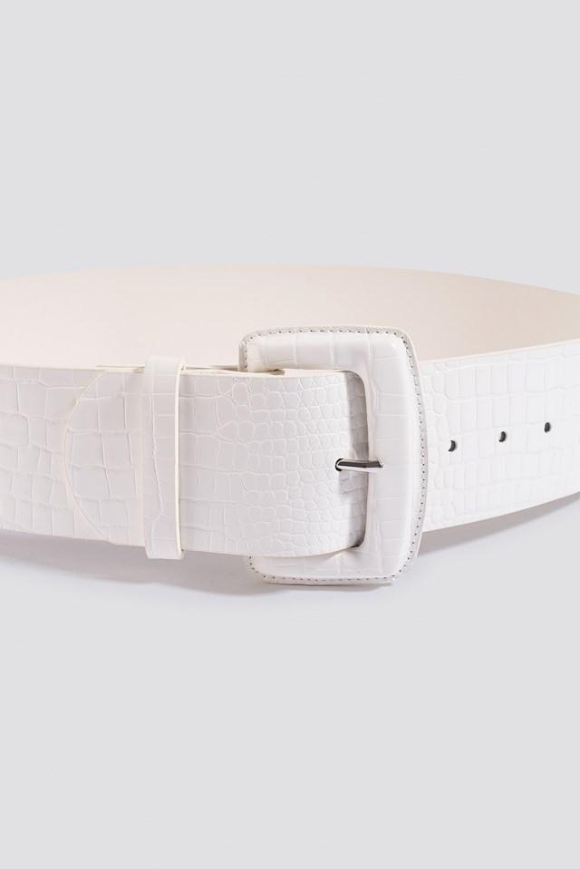 Big Reptile Look Waist Belt White