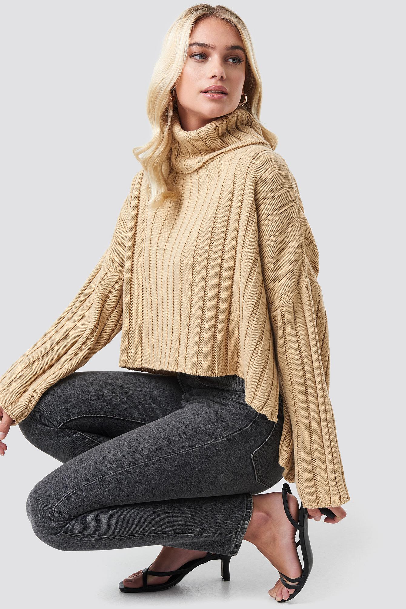 Big Ribbed High Neck Sweater NA-KD.COM