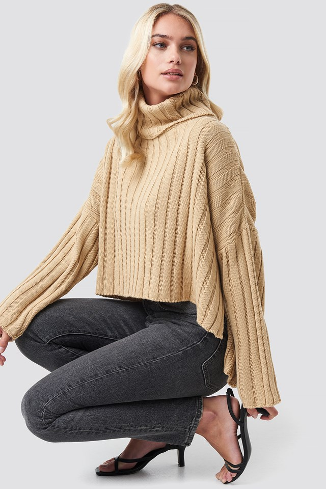 Big Ribbed High Neck Sweater NA-KD