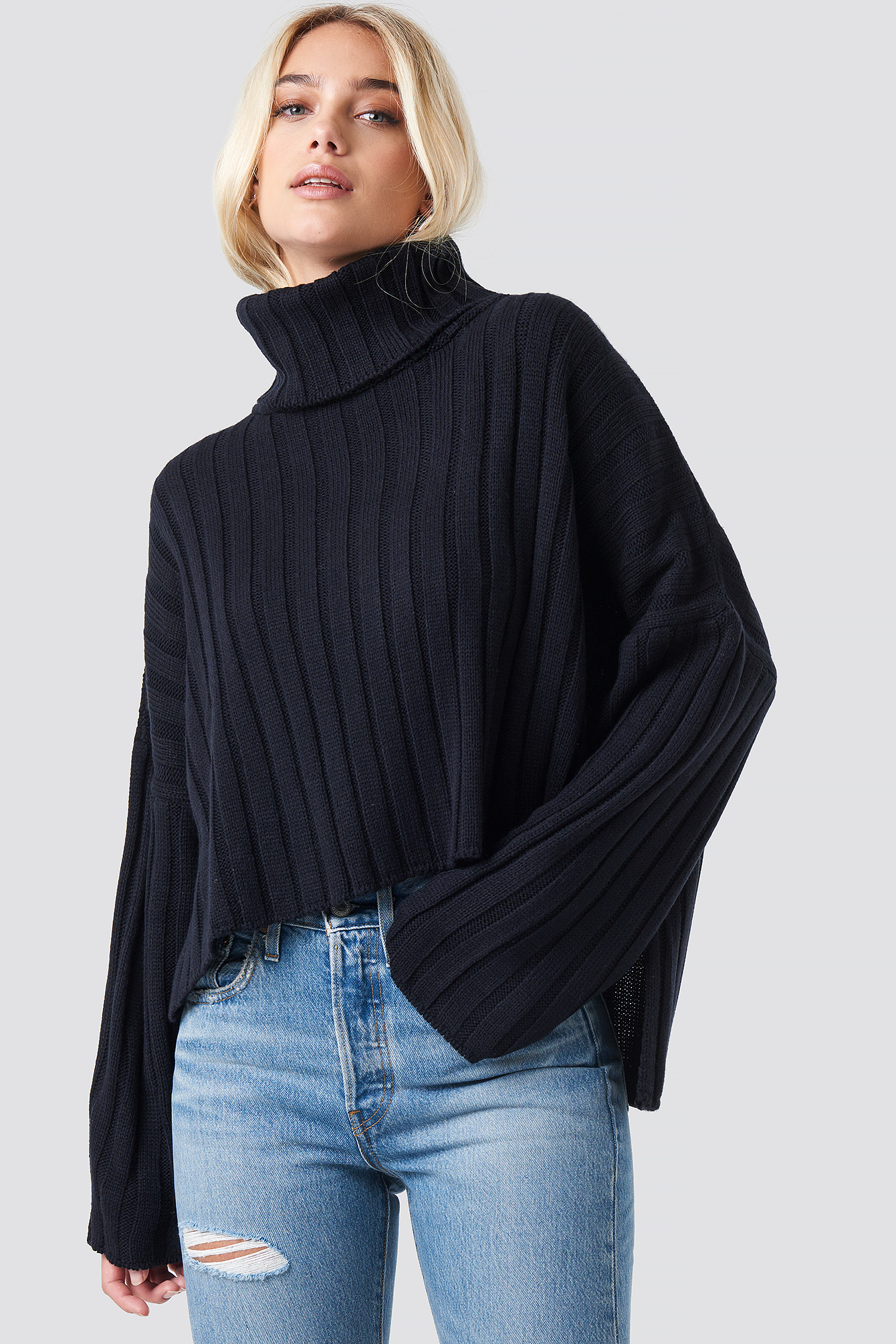 Big Ribbed High Neck Sweater NA-KD.COM