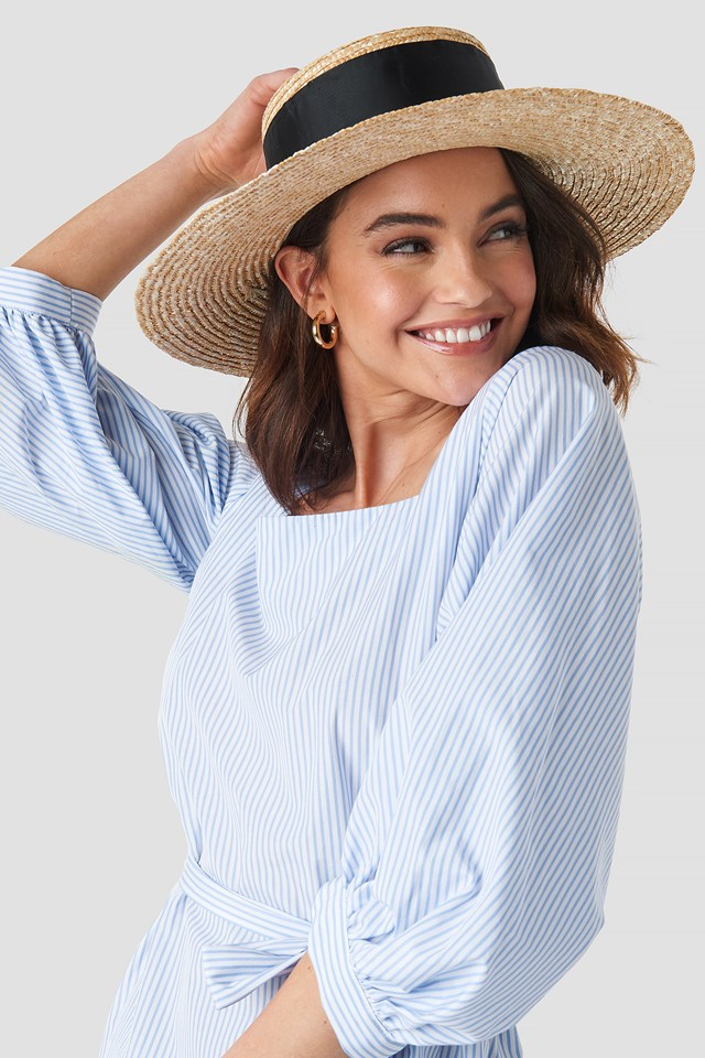Big Ribbon Straw Hat Natural