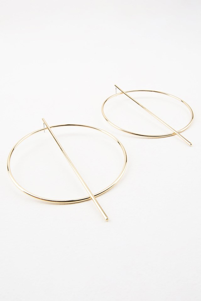 Big Round And Straight Earring Gold