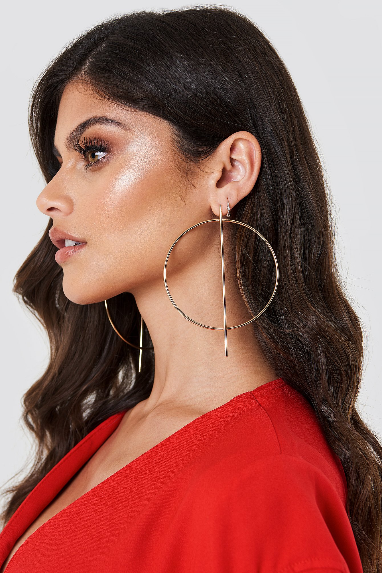 Big Round And Straight Earring NA-KD.COM