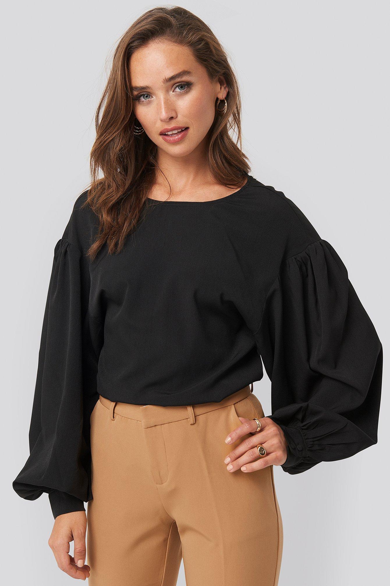 NA-KD Big Sleeve Blouse - Black