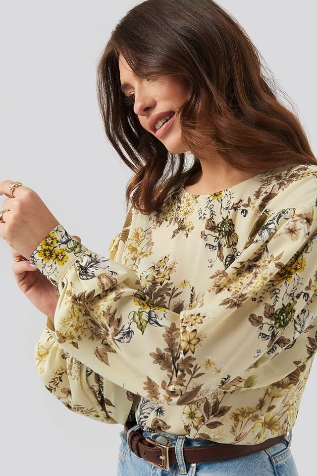 Big Sleeve Blouse Flower Print