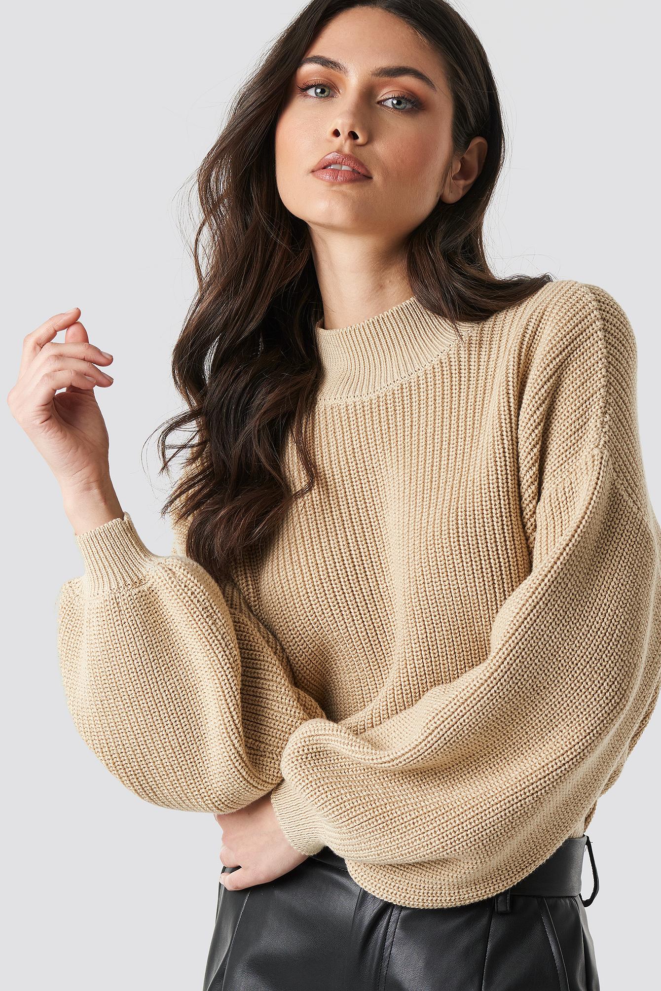 na-kd trend -  Big Sleeve Knitted Sweater - Beige