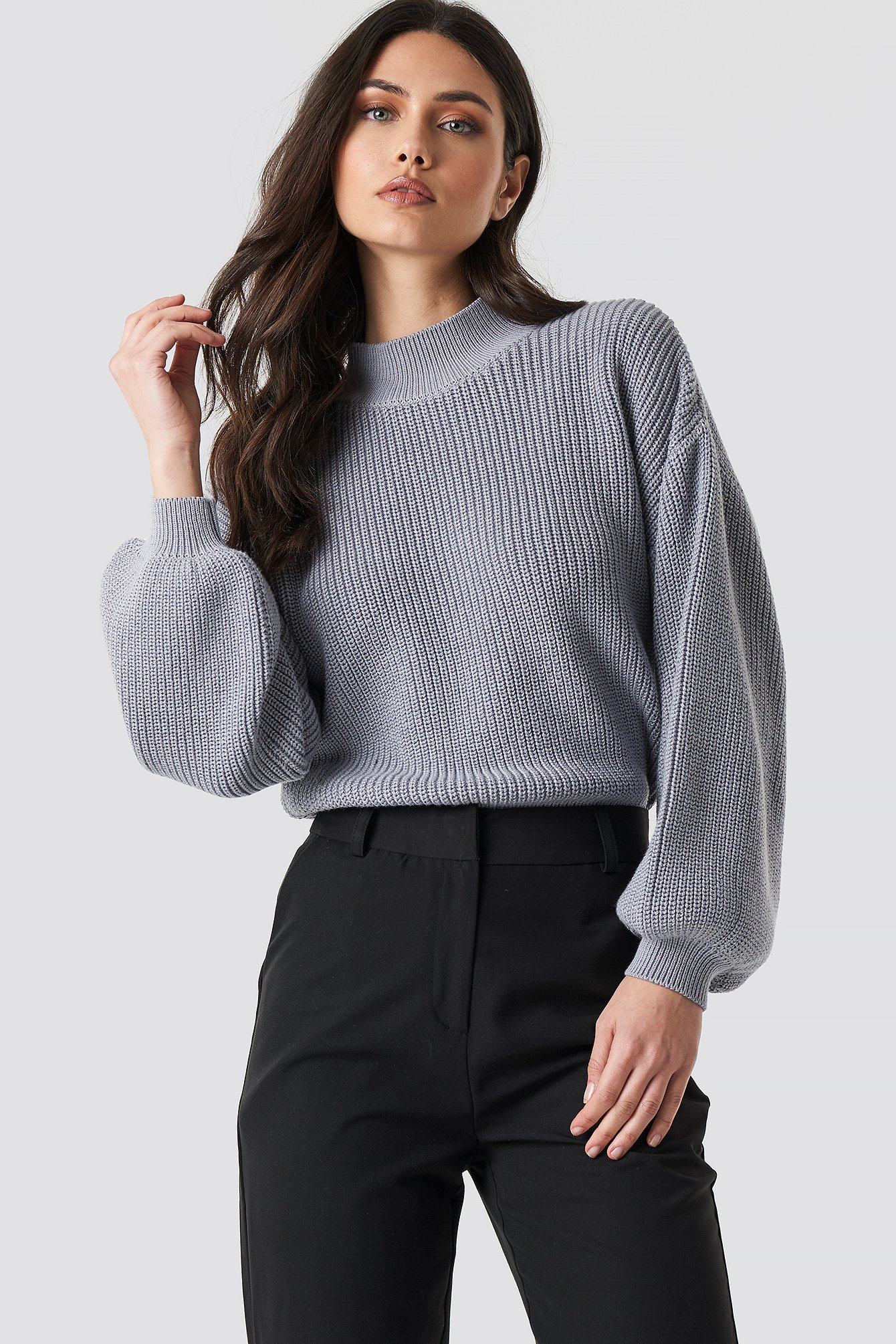 na-kd trend -  Big Sleeve Knitted Sweater - Grey