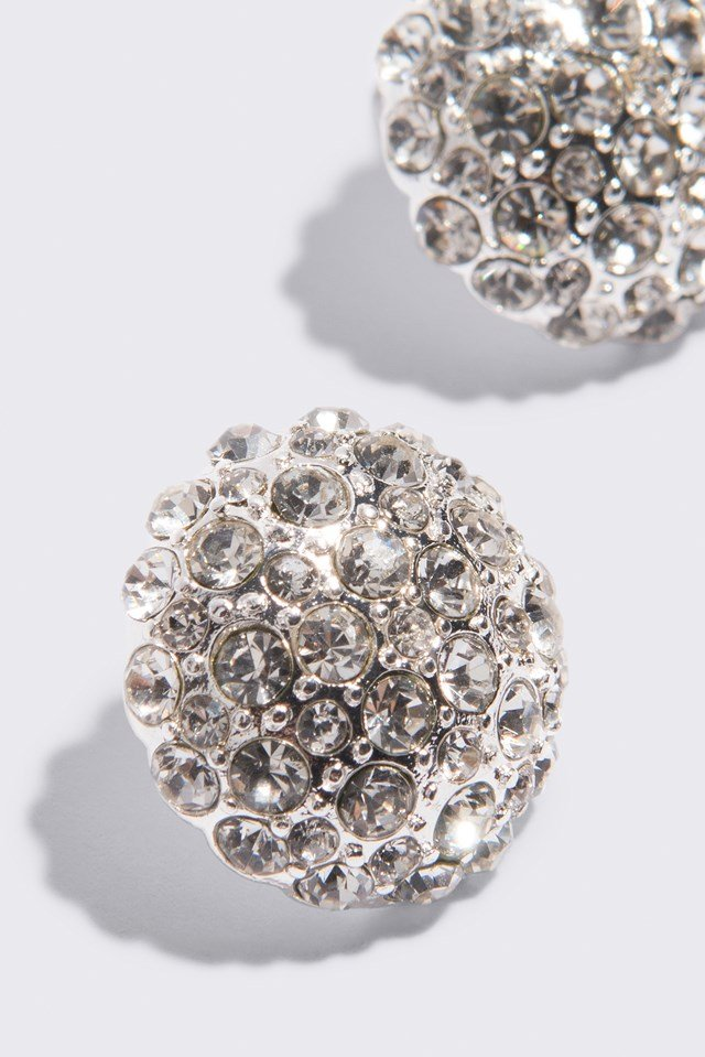 Big Sparkling Stud Earrings Silver