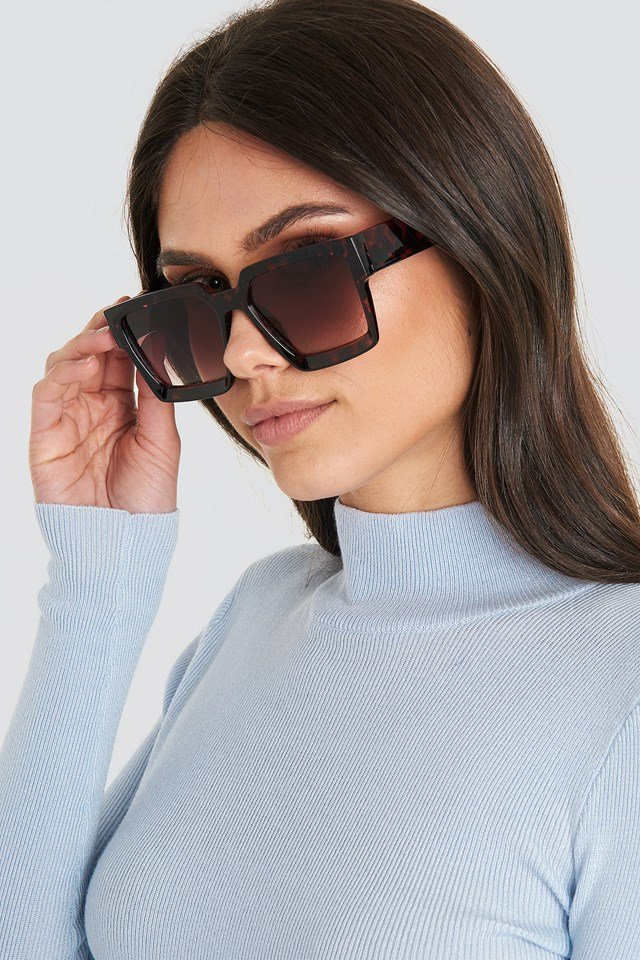 Big Squared Edge Sunglasses Tortoise