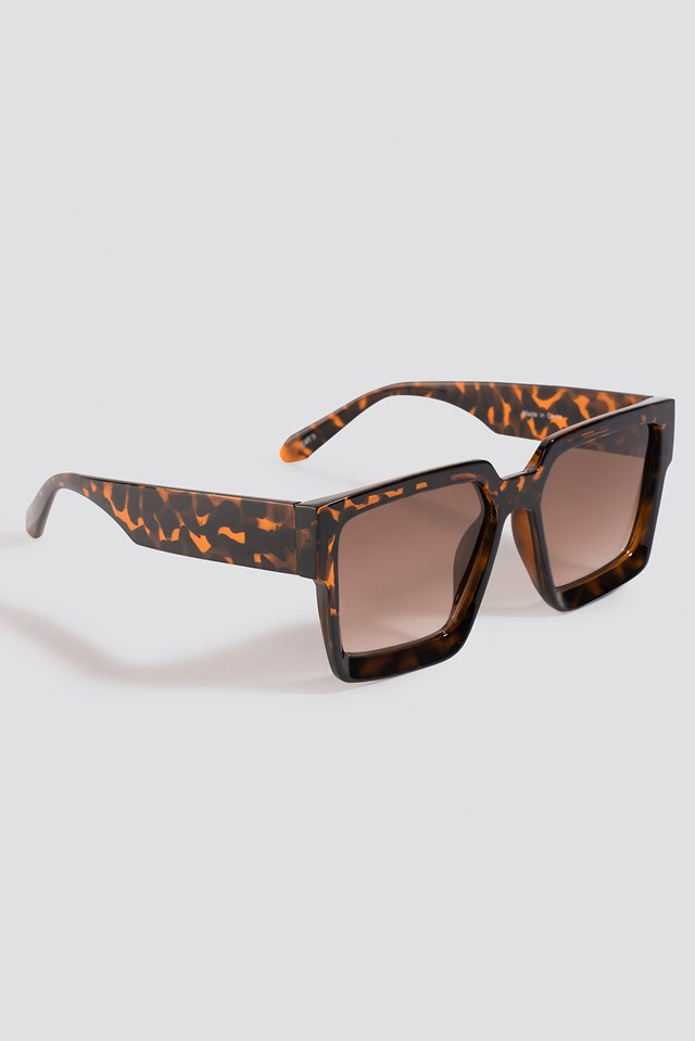 Big Squared Edge Sunglasses Tortoise