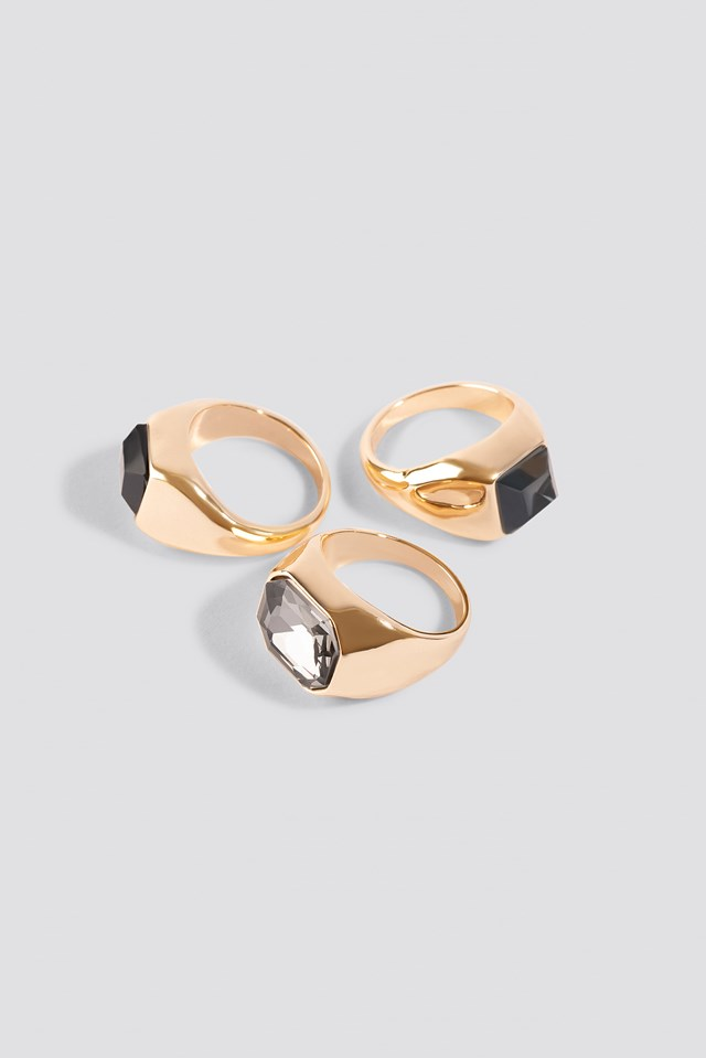 Big Stone Signet Rings (3-pack) NA-KD Accessories