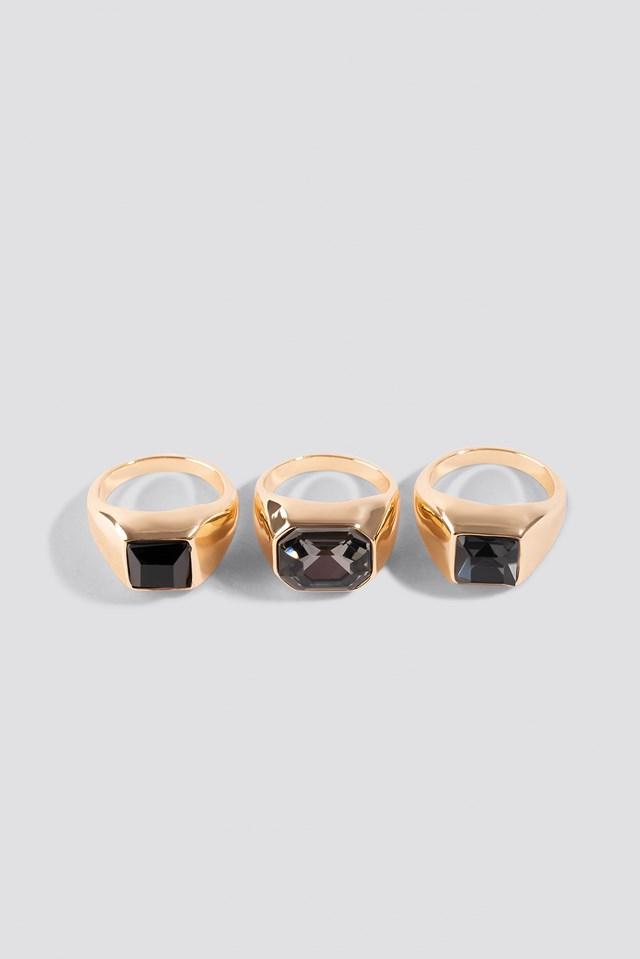 Big Stone Signet Rings (3-pack) NA-KD.COM