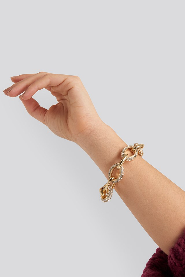 Big Strass Chain Bracelet Gold