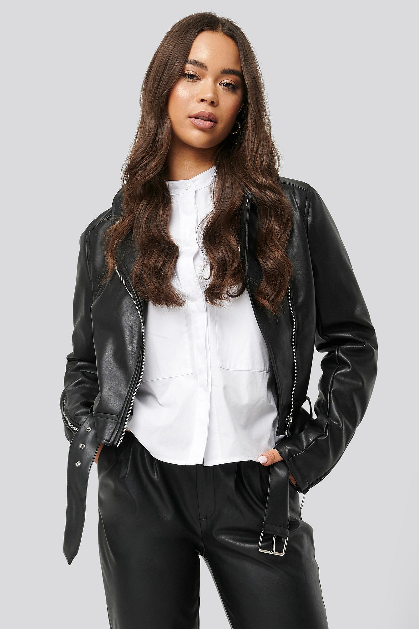 NA-KD Pu Leather Distressed Biker Jacket Black - Lyst
