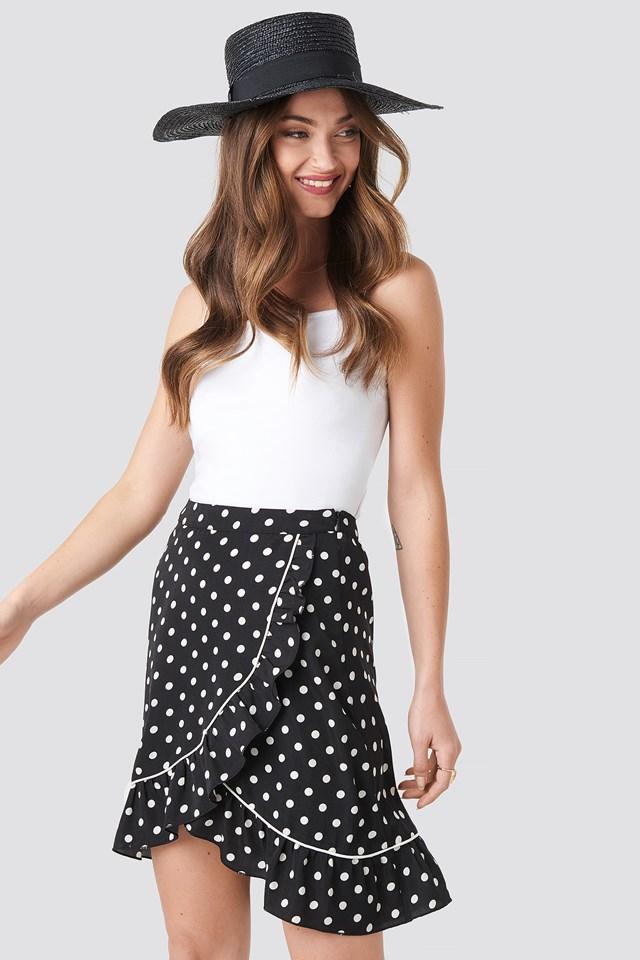 Binding Detail Dot Mini Skirt NA-KD.COM