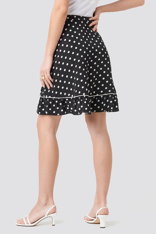 Binding Detail Dot Mini Skirt Black/White dots