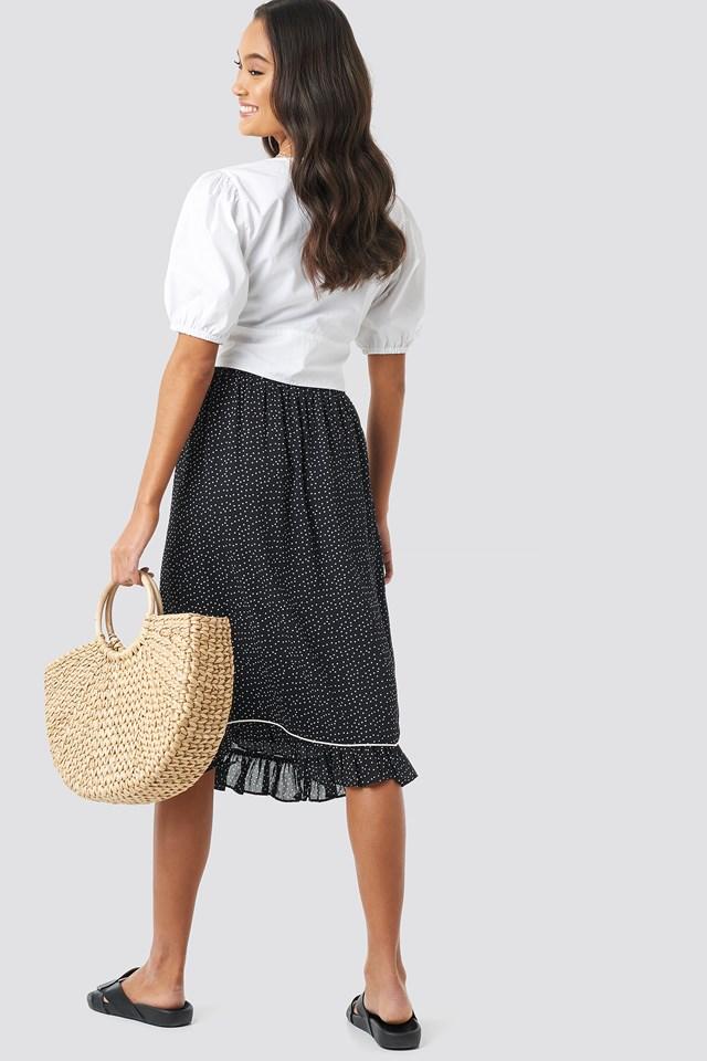 Binding Detail Dot Skirt Black/White dots