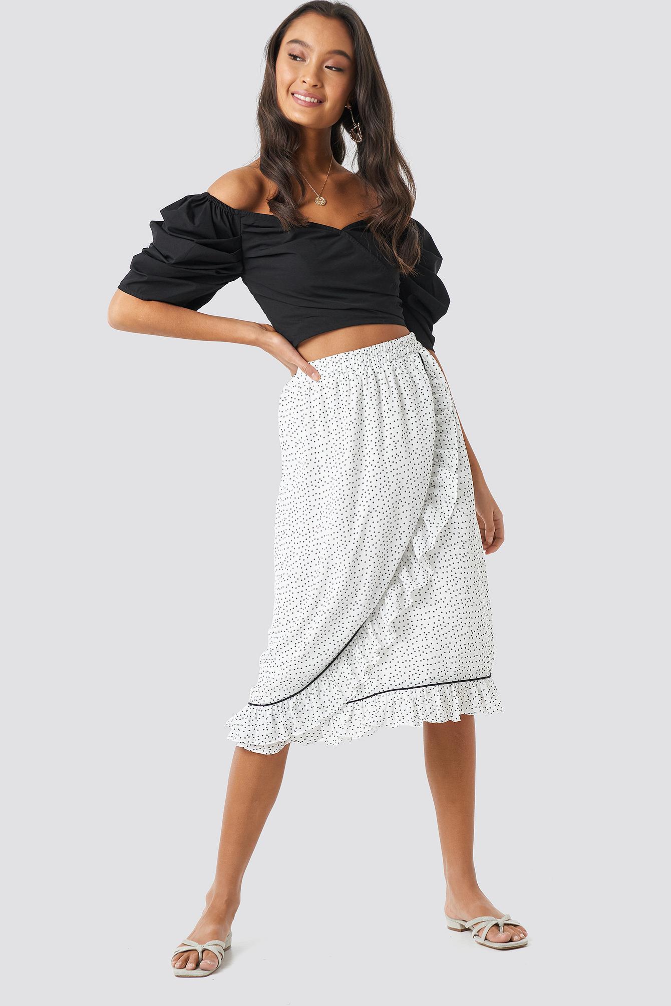 Binding Detail Dot Skirt