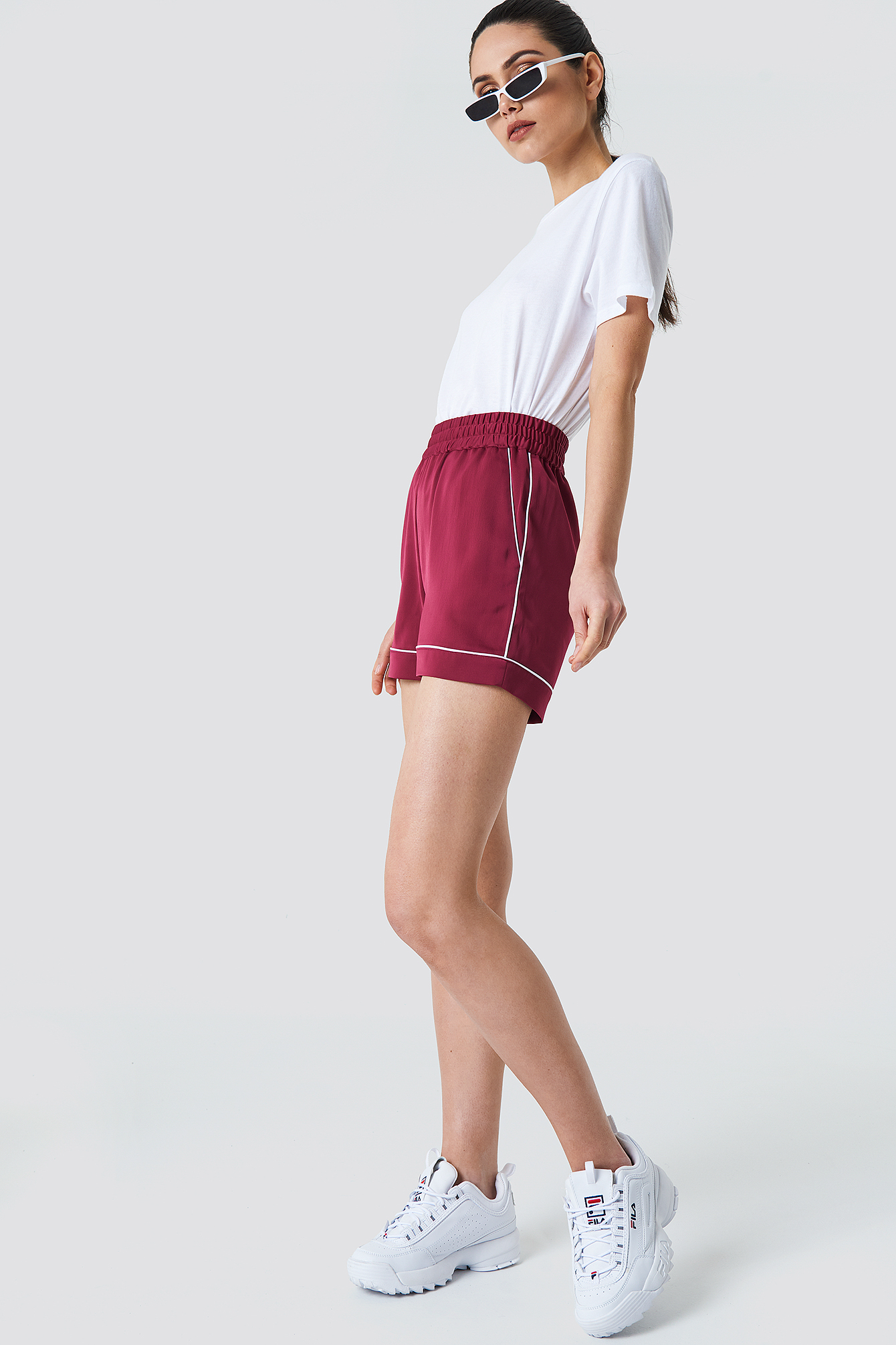 Binding Detail High Waist Shorts NA-KD.COM
