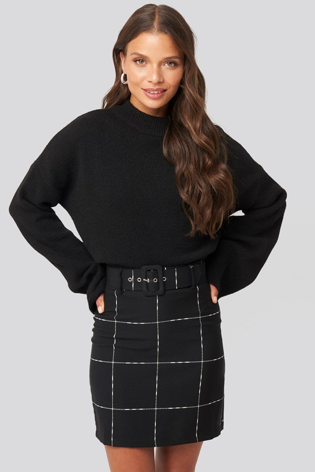 Black Check Belted Mini Skirt Black