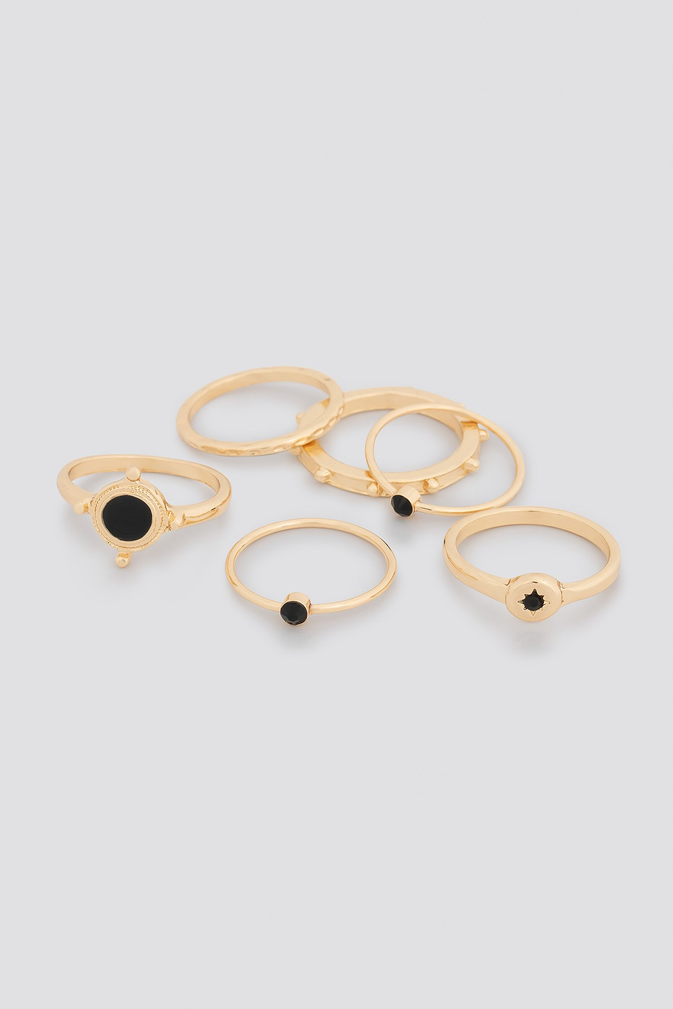 Black Detailed Stacking Rings NA-KD.COM