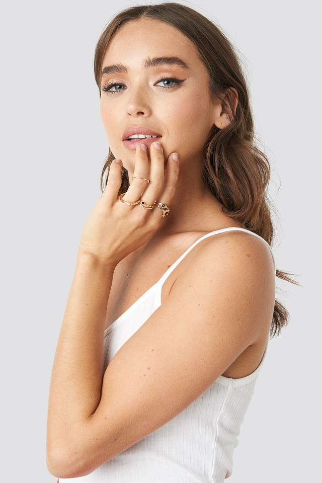 Black Detailed Stacking Rings NA-KD Accessories