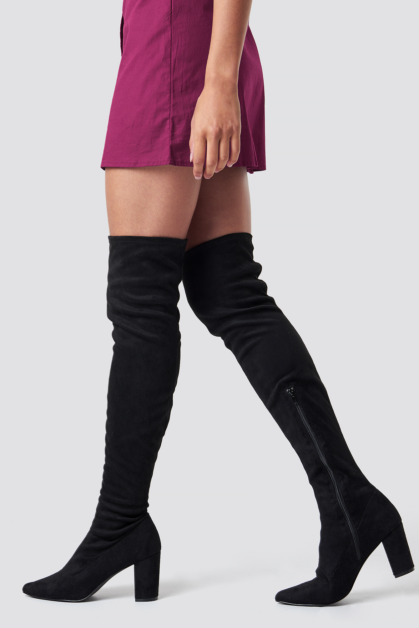 Block Heel Thigh High Boots NA-KD.COM