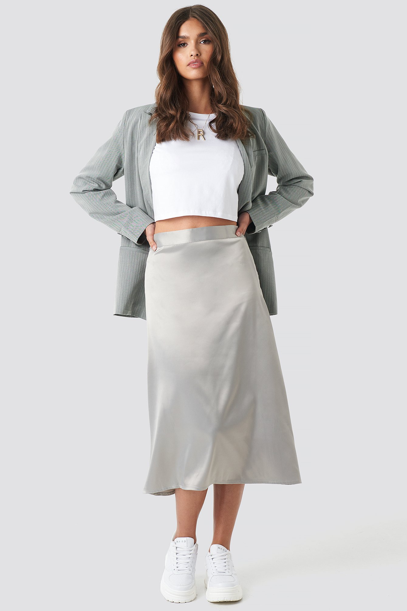 na-kd party -  Bias Cut Satin Midi Skirt - Grey,Silver
