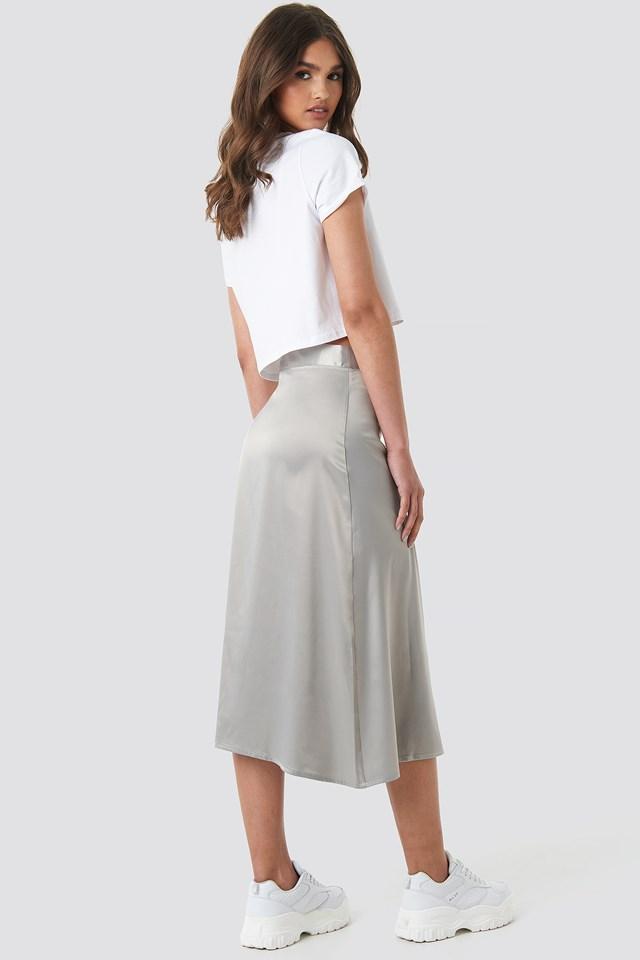 Bias Cut Satin Midi Skirt Grey
