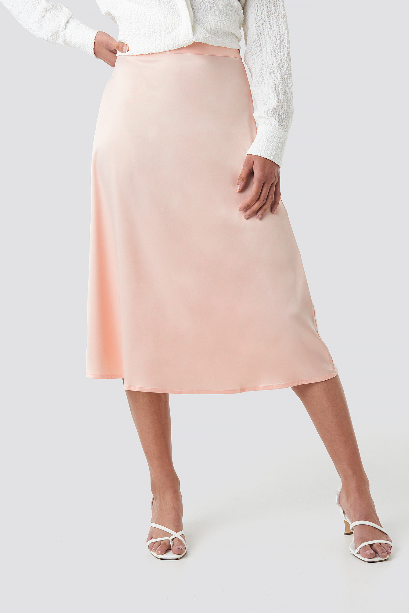 Bias Cut Satin Midi Skirt NA-KD.COM