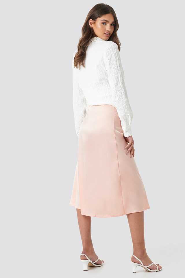 Bias Cut Satin Midi Skirt Pink