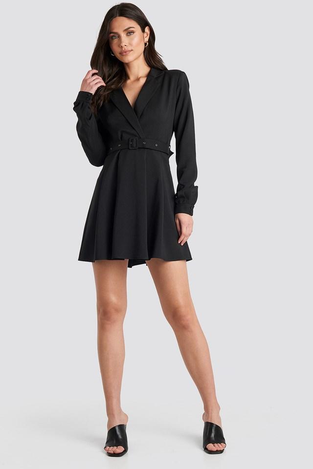 Blazer Belted Mini Dress Black
