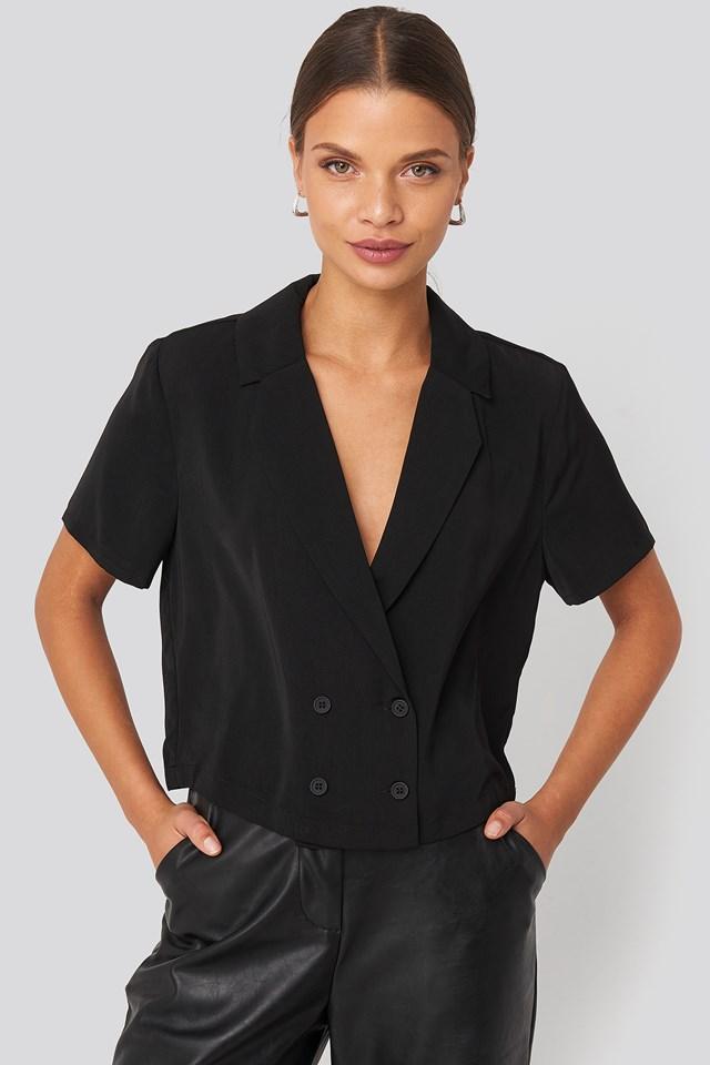 Blazer Buttoned Top Black
