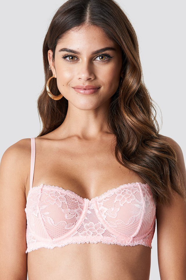 Balconette Floral Lace Bra Dusty Light Pink