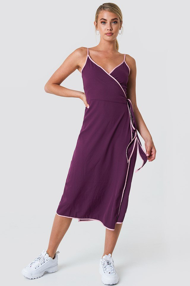 Binding Detail Wrap Over Dress Deep Purple