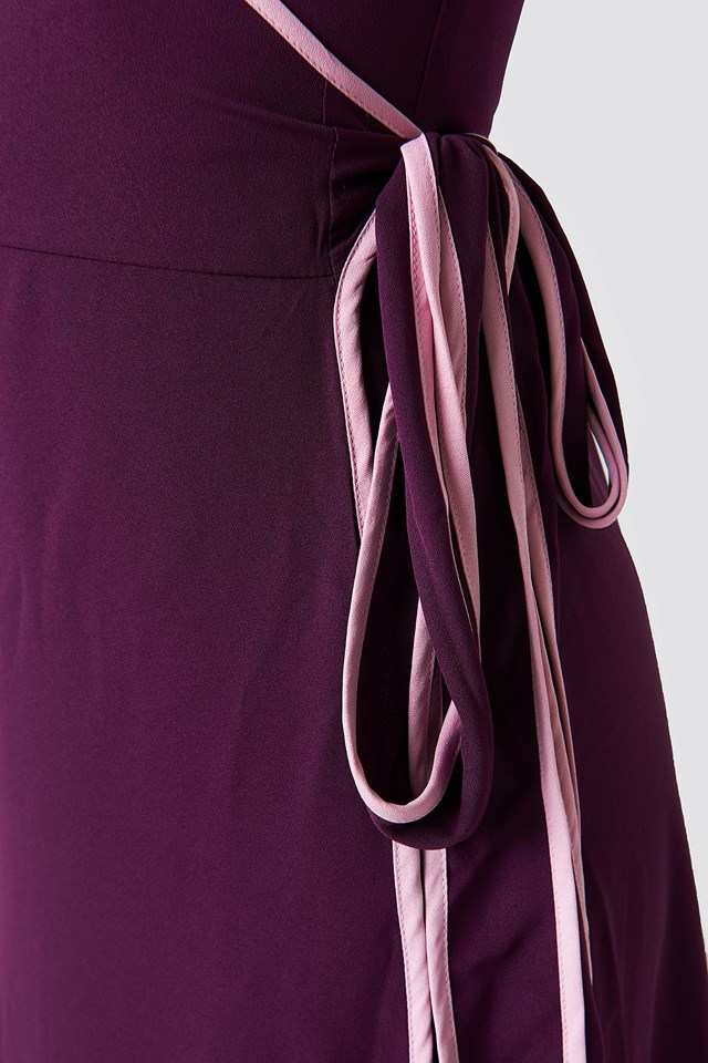 Binding Detail Wrap Over Dress Deep Purple