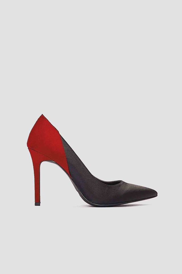 Block Color Satin Pumps Black/Red