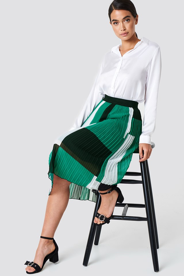 Block Colored Pleated Skirt Green Comb