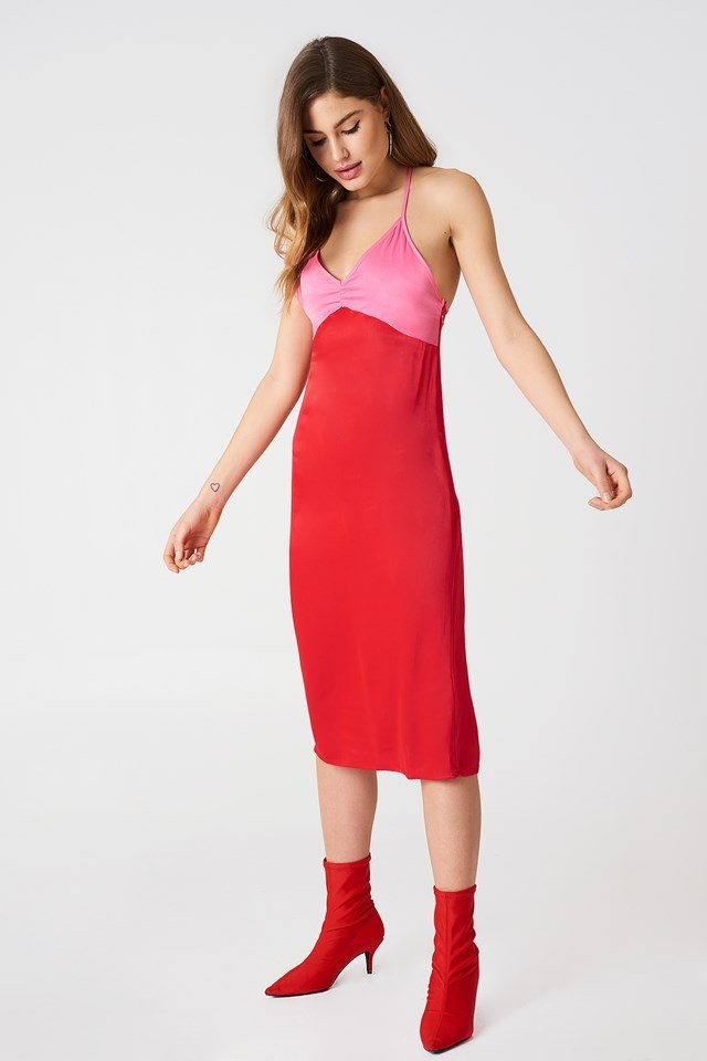 Block Colored Slip Dress Red/Pink