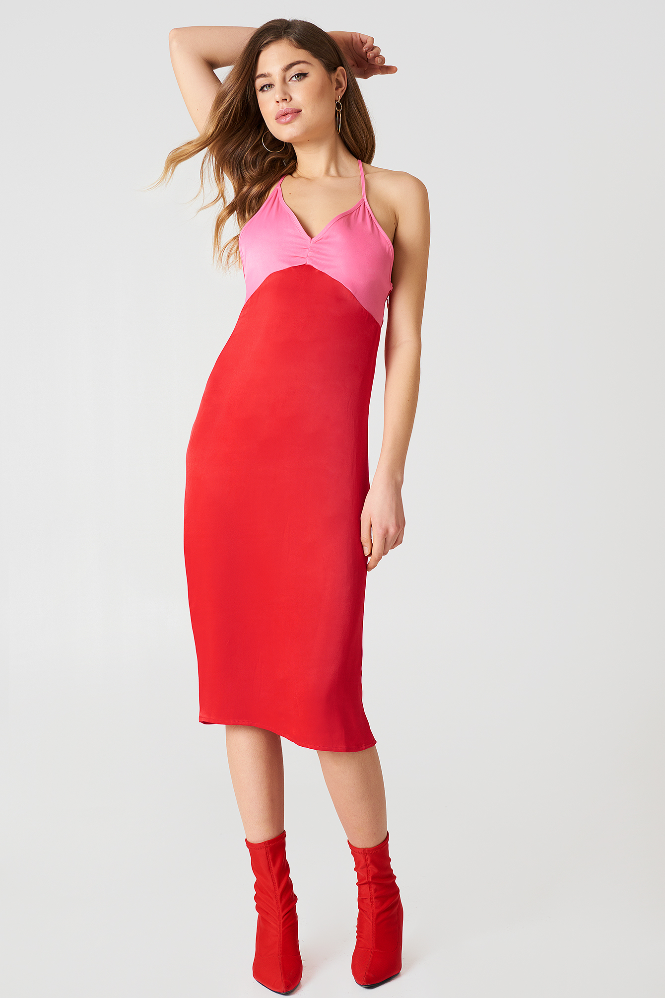 Red/Pink Block Colored Slip Dress