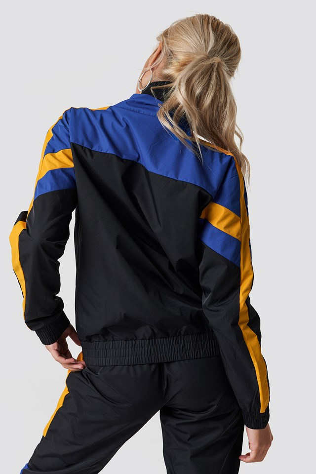 Block Colored Tracksuit Jacket Black Combo