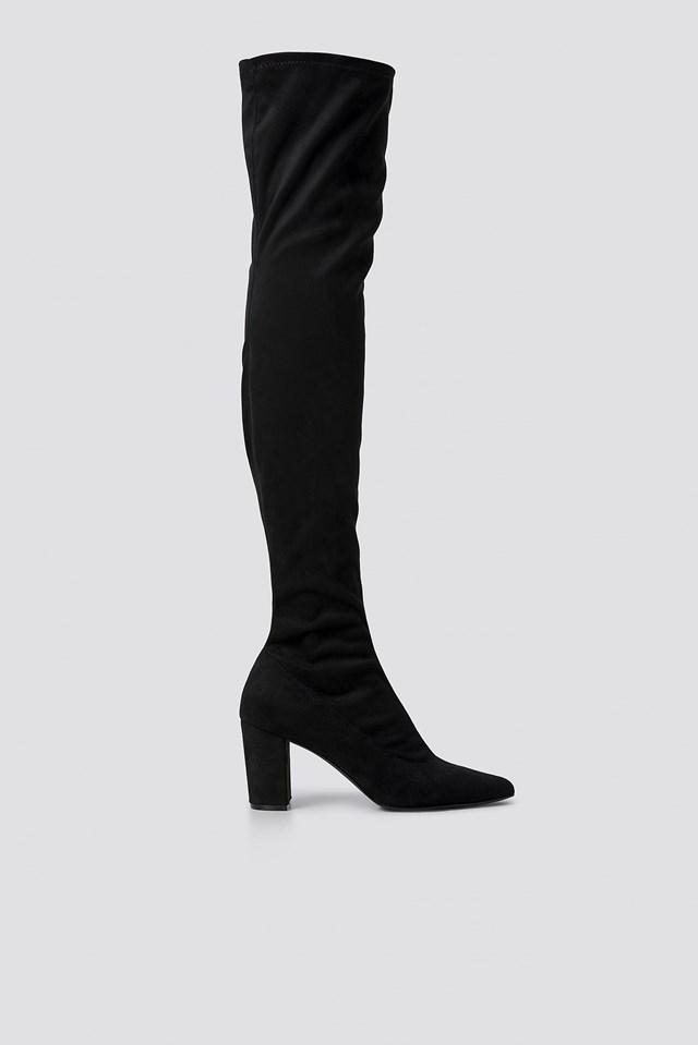 Block Heel Thigh High Boots Black